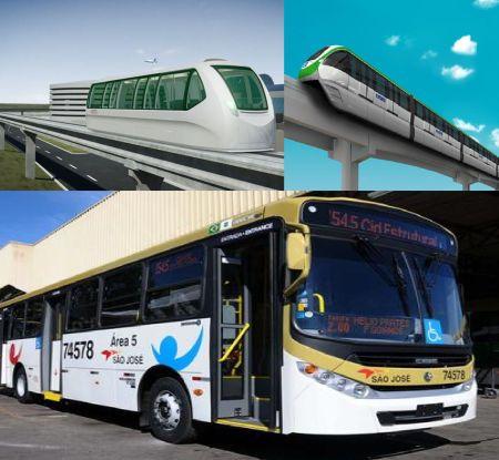 Porto Alegre (esq) com o Aeromovel e São Paulo (dir) com o Monotrilho optaram por tecnologias modernas de transporte público. O GDF preferiu os ônibus a diesel.