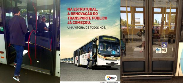 Nas imagens, ao centro, a publicidade do GDF mostra o esforço físico para o usuário subir no ônibus. À esquerda, o ônibus alemão. À direita, o ônibus espanhol. Ambos possuem piso rebaixado e alguns deles ainda operam umdispositivo que regula a altura da suspensão com o piso do passeio público.