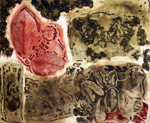 Na gravura Outono, de Lêda Watson, as marcas da natureza do cerrado.