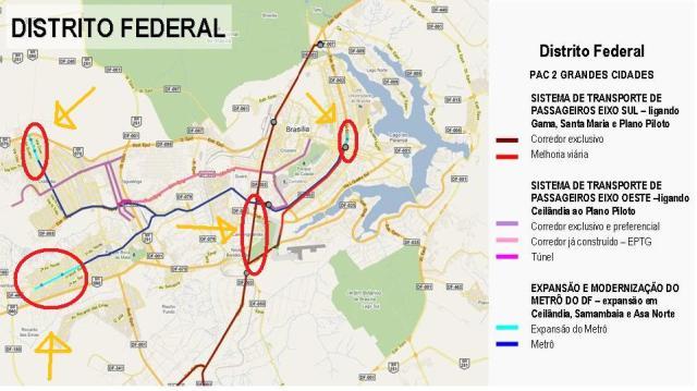 As setas em amarelo apontam para os três trechos de ampliação do metrô e também o trecho do BRT que atravessará a Candangolândia rumo a estação Asa Sul do metrô. Estas obras só ficarão prontas no próximo governo.