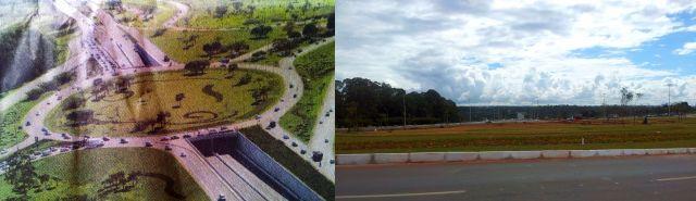 Na publicidade do GDF, que mesclou uma foto aérea verdadeira com desenhos feitos com recursos de computação gráfica, o Balão do Aeroporto aparece com frondosas árvores. Na realidade, apenas algumas esquálidas palmeiras foram plantadas.