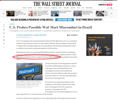 Brasília é manchete nas páginas policiais do Wall Street Journal