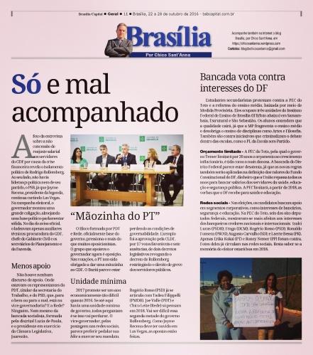 Publicado originalmente na coluna Brasília, por Chico Sant'Anna, no semanário Brasília Capital.